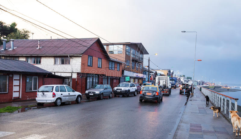 Cidade de Quellon da ilha de Chiloe fotografia de stock