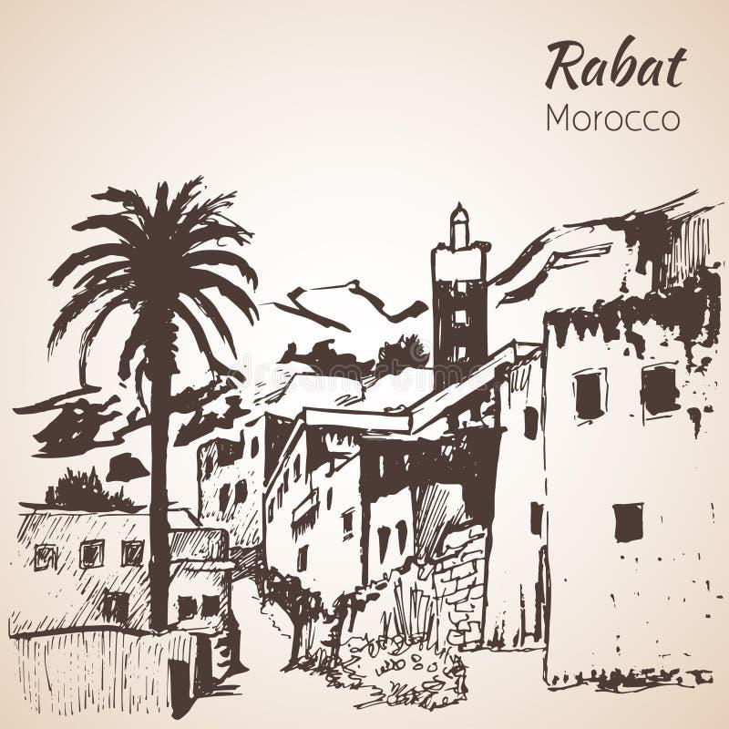 Cidade de Rabat marrocos esboço ilustração royalty free