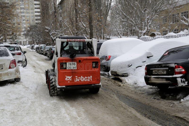 Cidade de Saratov no inverno em janeiro foto de stock