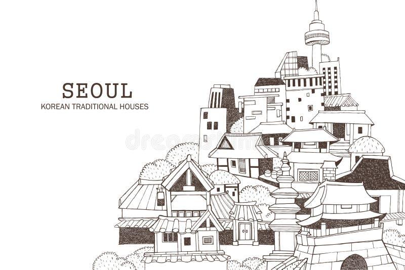 Cidade de Seoul e arquitetura coreana ilustração stock