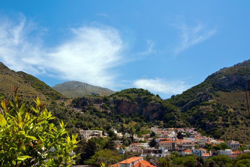 Cidade de Spili, Crete fotografia de stock royalty free