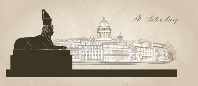 Cidade de St Petersburg, Rússia Catedral do ` s de Isaac de Saint, monumento da esfinge Opinião da skyline ilustração do vetor