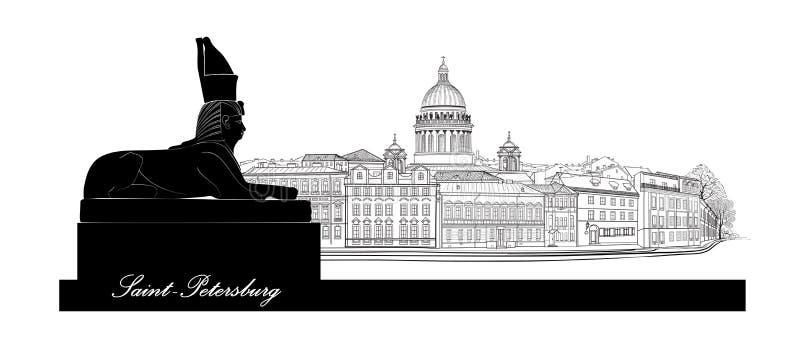 Cidade de St Petersburg, Rússia Skyline da catedral do ` s de Isaac de Saint com o monumento egípcio da esfinge ilustração do vetor