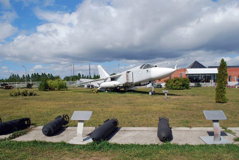 Cidade de Togliatti Museu técnico de K g sakharov Exibição do bombardeiro tático da parte dianteira SU-24 do museu imagem de stock royalty free