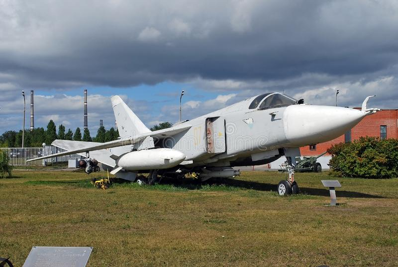 Cidade de Togliatti Museu técnico de K g sakharov Exibição do bombardeiro tático da parte dianteira SU-24 do museu imagens de stock royalty free