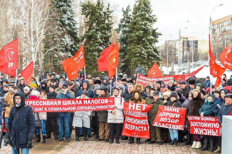 Cidade de Ulyanovsk, R?ssia, march23, 2019, uma reuni?o dos comunistas contra a reforma do governo do russo fotos de stock