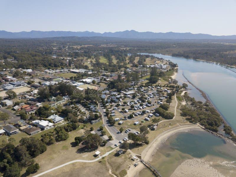 A cidade de Urunga, Novo Gales do Sul fotos de stock royalty free