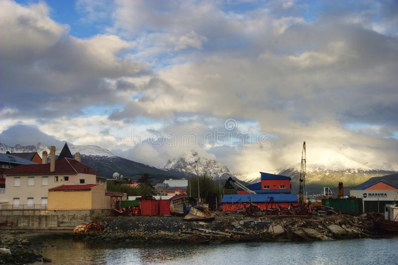 A cidade de Ushuaia em Tierra Del Fuego, Argentina fotografia de stock