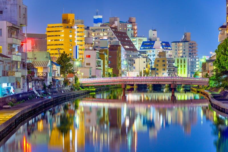 Cidade de Wakayama, arquitetura da cidade de Japão imagens de stock