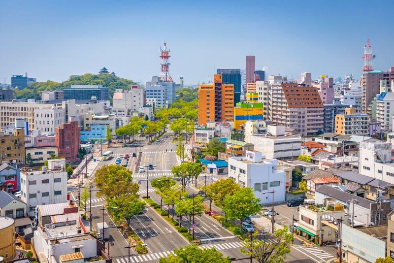 Cidade de Wakayama, skyline de Japão fotografia de stock