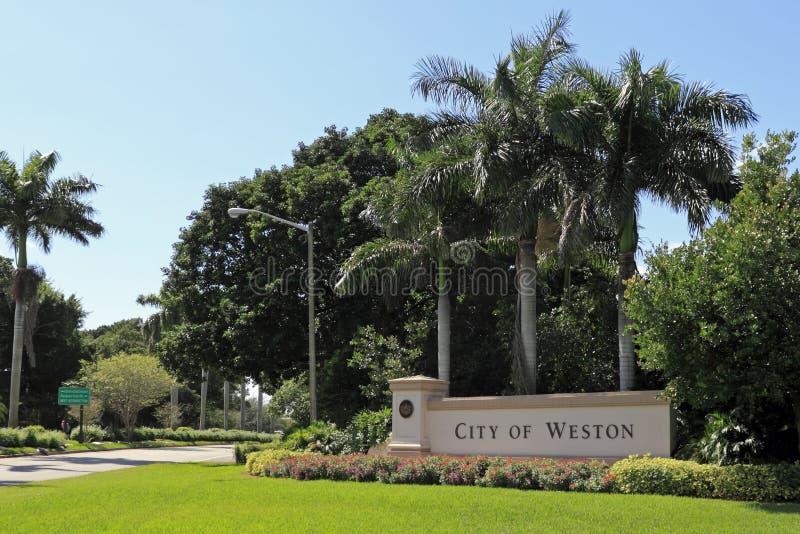 Cidade de Weston Sign fotografia de stock royalty free