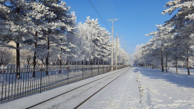 Cidade de Winer e estrada Siberian da neve fotografia de stock