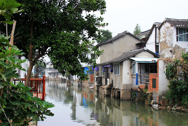 Cidade de Zhujiajiao, ao sul do Rio Yangtzé fotos de stock