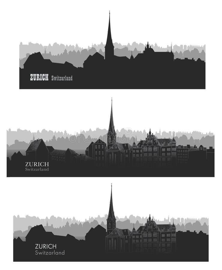 Cidade de Zurique, Switzerland Sset da silhueta da skyline Citysc do vetor ilustração royalty free