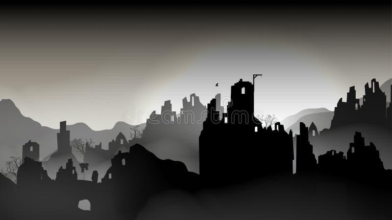 A cidade destruída, construções na ruína - Vector a ilustração ilustração royalty free