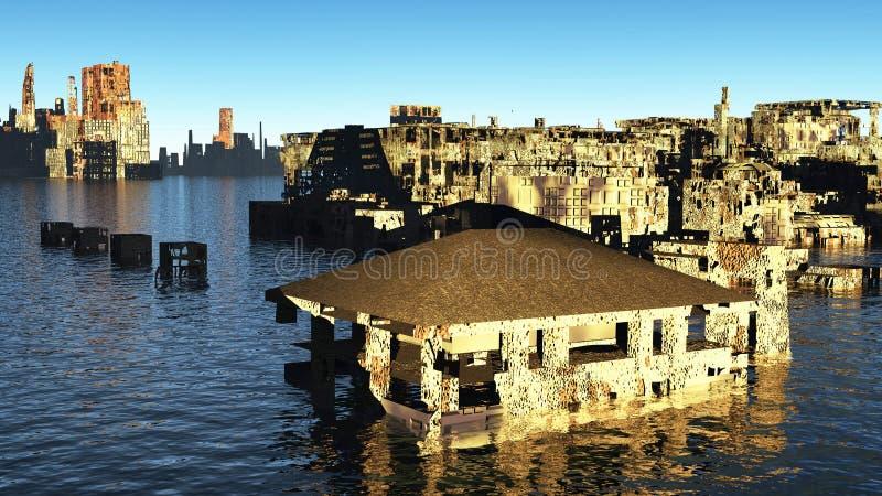 Cidade devastado do tsunami imagem de stock