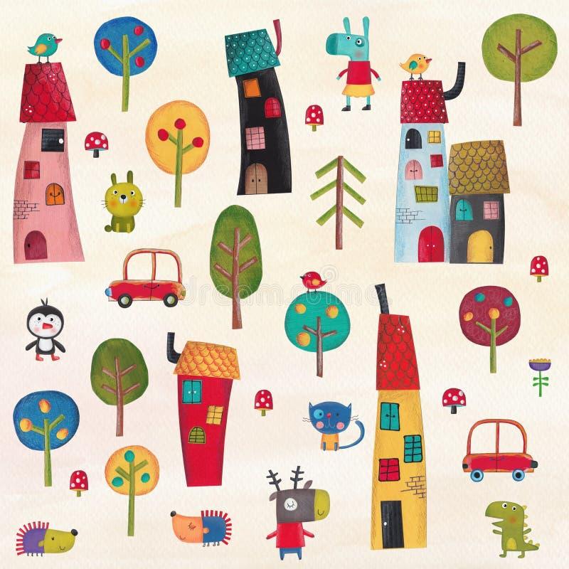 A cidade do animal de estimação ilustração royalty free