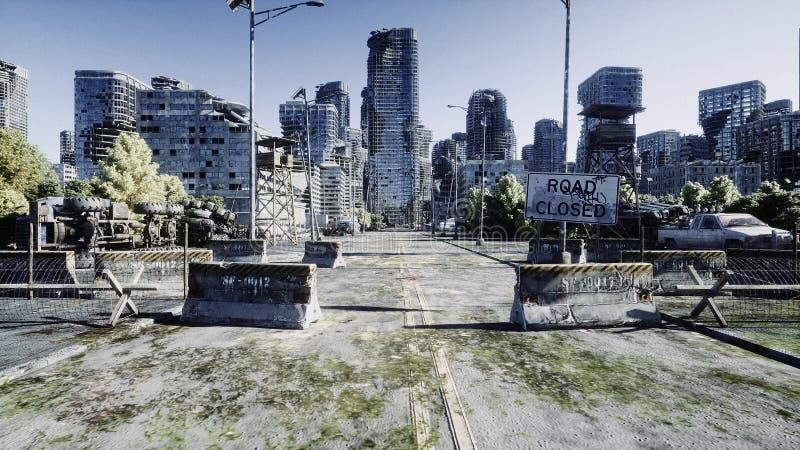 Cidade do apocalipse Vista aérea da cidade destruída Conceito do apocalipse rendição 3d fotos de stock