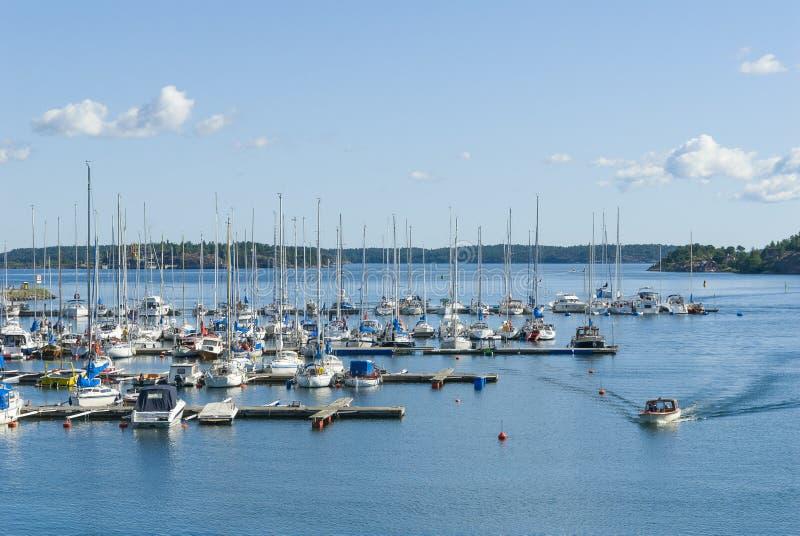 Cidade do arquipélago de Marina Nynashamn imagem de stock