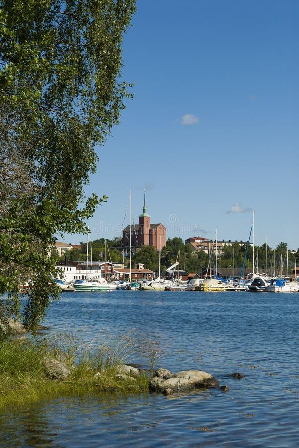 Cidade do arquipélago de Nynashamn fotos de stock