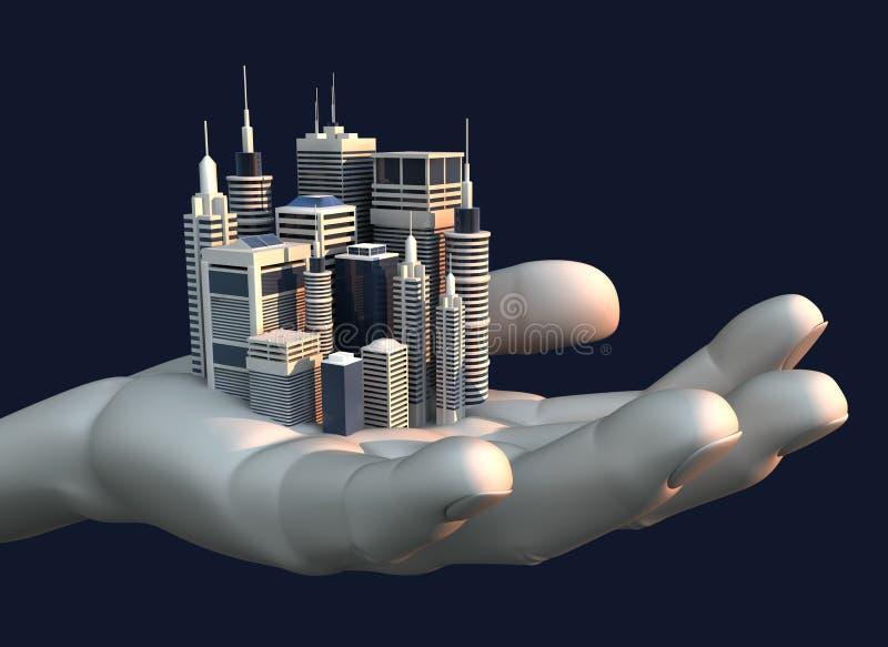 Cidade do arranha-céus na palma de uma mão ilustração royalty free