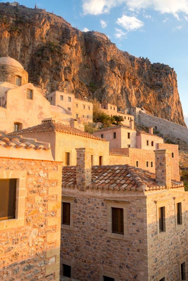 Cidade do castelo de Monemvasia em Lakonia, Grécia fotos de stock royalty free