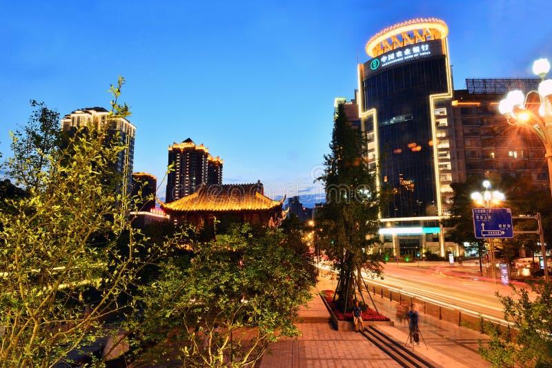 Cidade do centro de Chengdu, Sichuan China imagem de stock royalty free