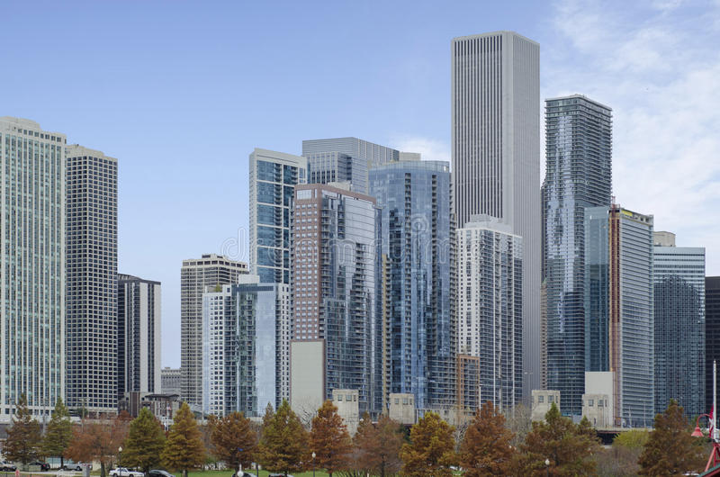 Cidade do centro de Chicago fotografia de stock royalty free