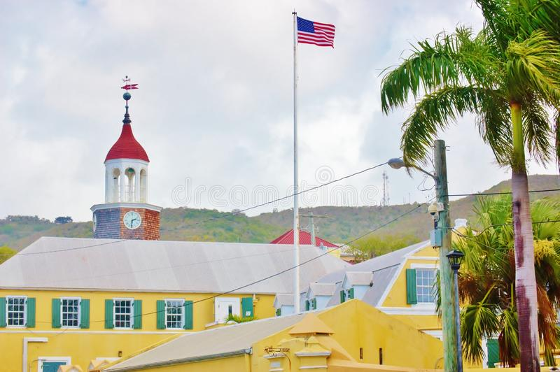 Cidade do centro de Christiansted nós Virgin Islands foto de stock