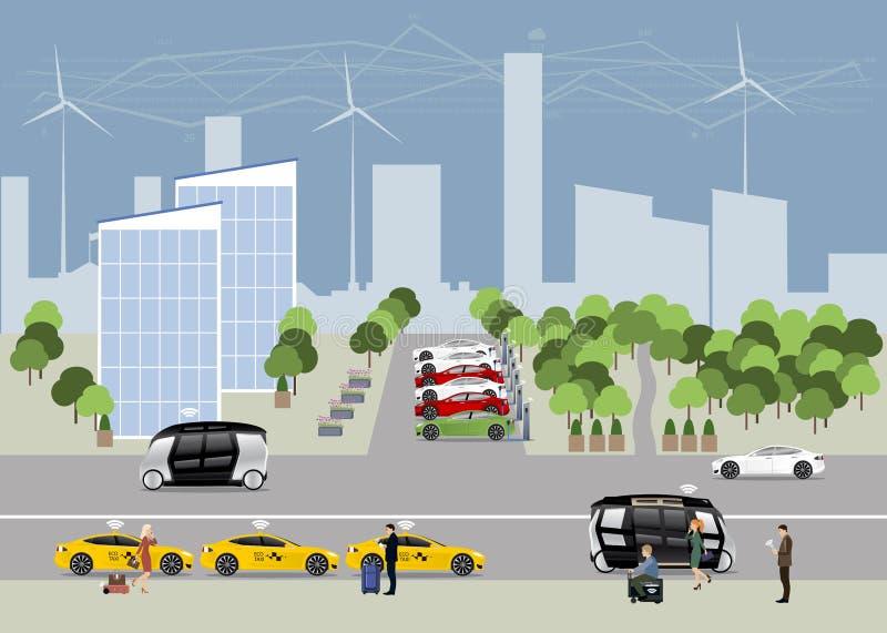 A cidade do conceito futuro ilustração do vetor
