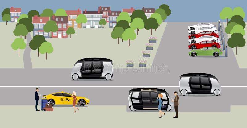 A cidade do conceito futuro ilustração royalty free