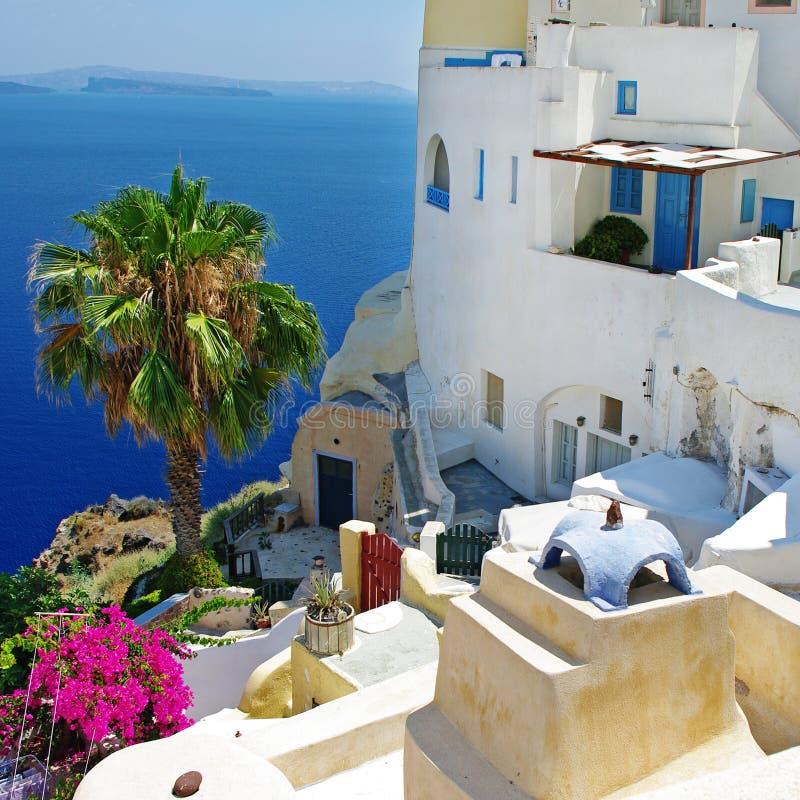 Cidade do console de Santorini, Oia fotos de stock royalty free