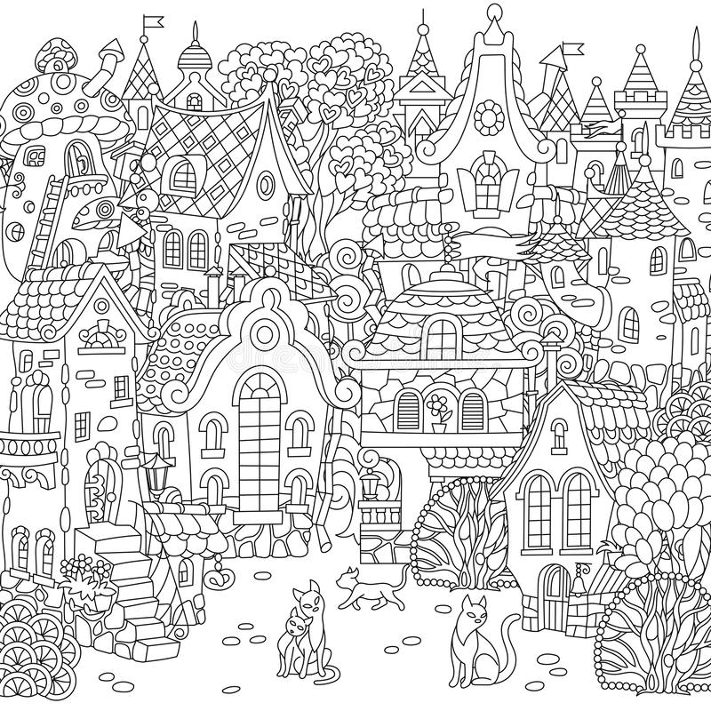 Cidade do conto de fadas de Zentangle ilustração royalty free