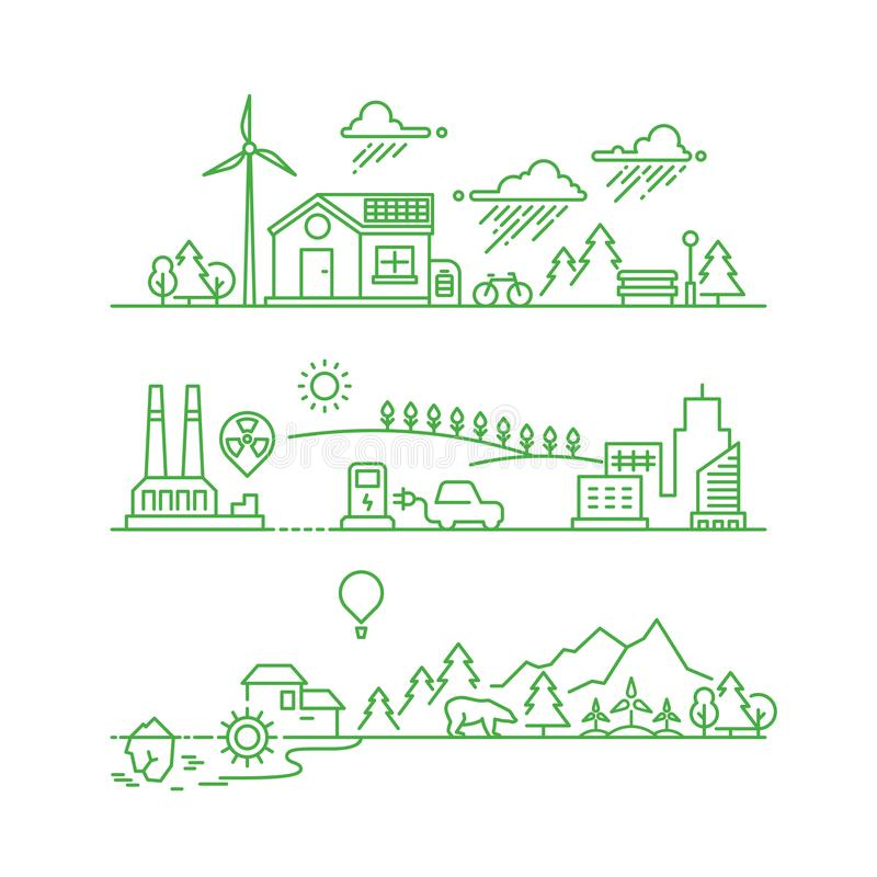 Cidade do eco do esboço O ambiente e o ecossistema verdes ecológicos futuros vector o conceito ilustração do vetor