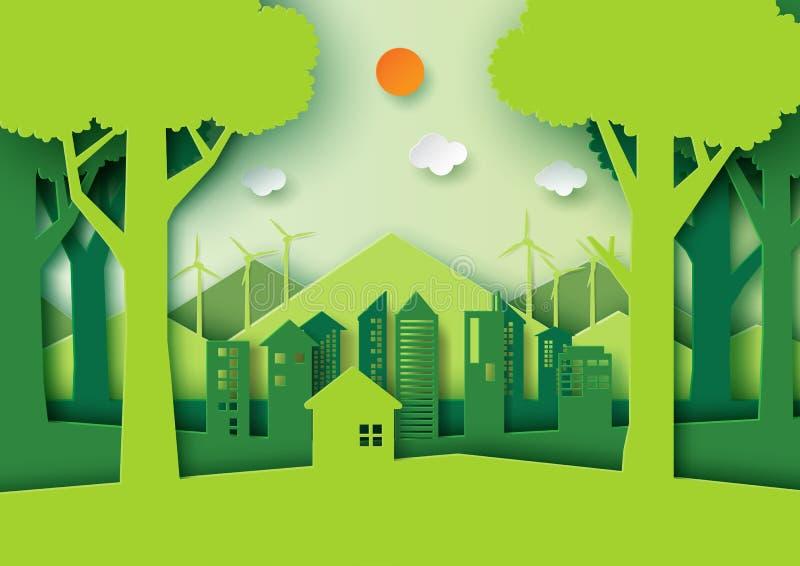 A cidade do eco verde e a floresta amigáveis da natureza ajardinam ilustração stock