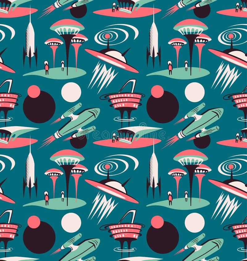 A cidade do espaço do futuro - vector o teste padrão sem emenda ilustração do vetor
