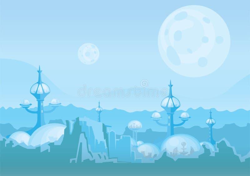 A cidade do futuro, uma colônia do espaço Pagamento humano com construções futuristas em Marte Ilustração do vetor ilustração do vetor