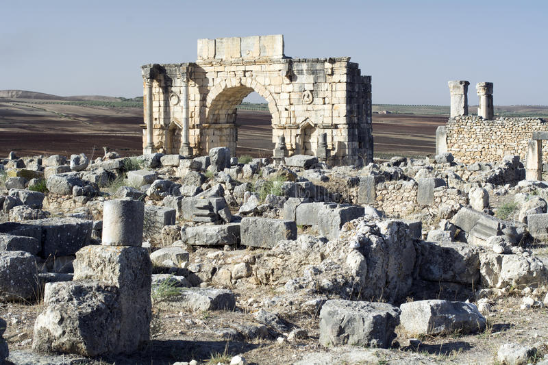 Cidade do império romano de Volubilis em Marrocos, África fotografia de stock
