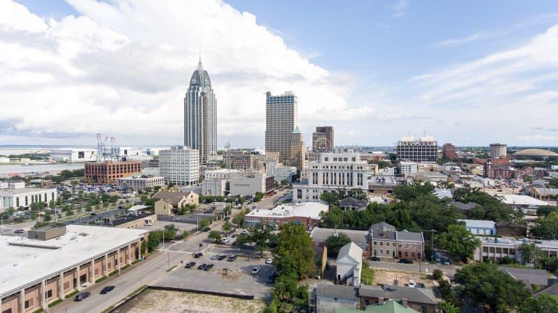 Cidade do móbil, docas do porto de Alabama e do estado foto de stock royalty free