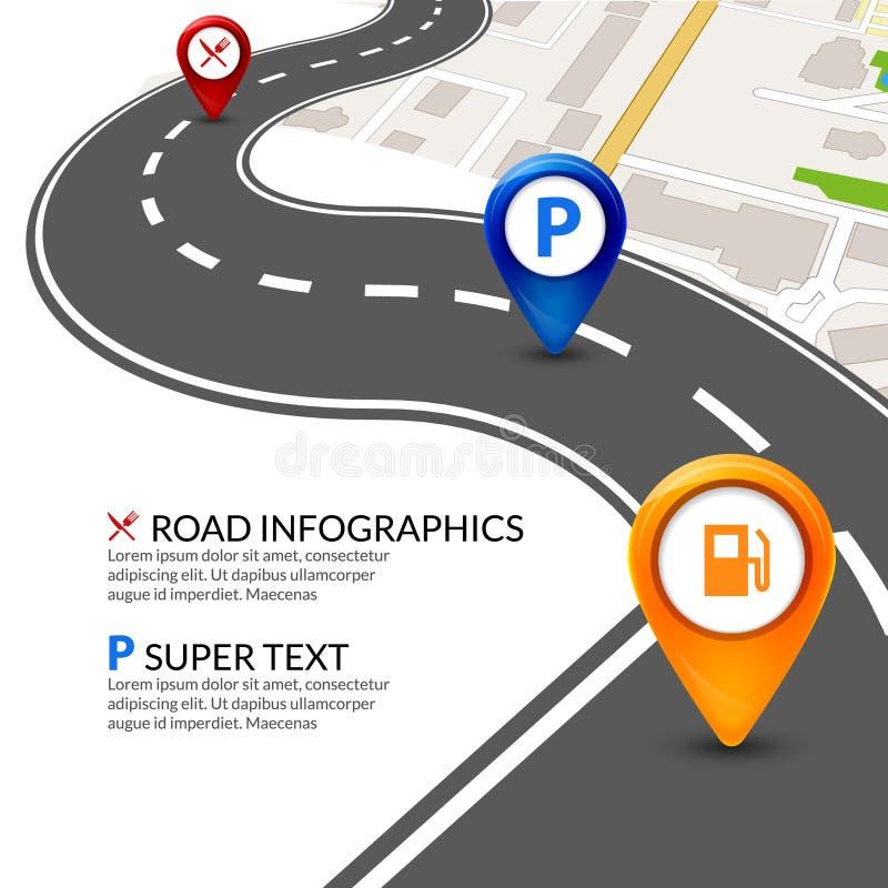 Cidade do mapa de estradas infographic com o ponteiro colorido dos pinos Molde do mapa da perspectiva da navegação da rua da estr ilustração stock