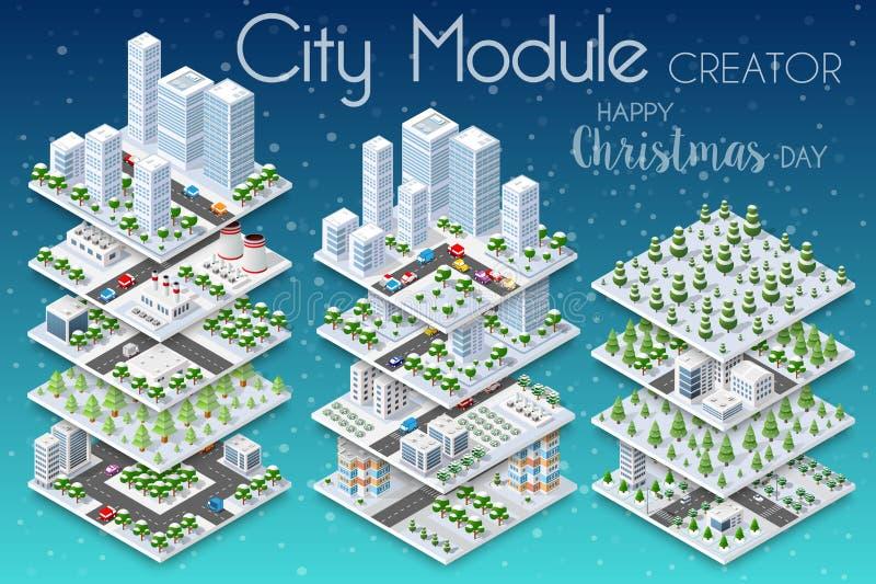 Cidade do Natal do inverno ilustração do vetor