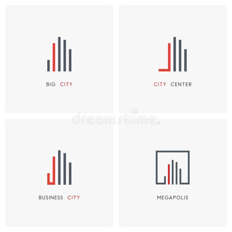 Cidade do negócio - grupo do logotipo dos bens imobiliários ilustração stock