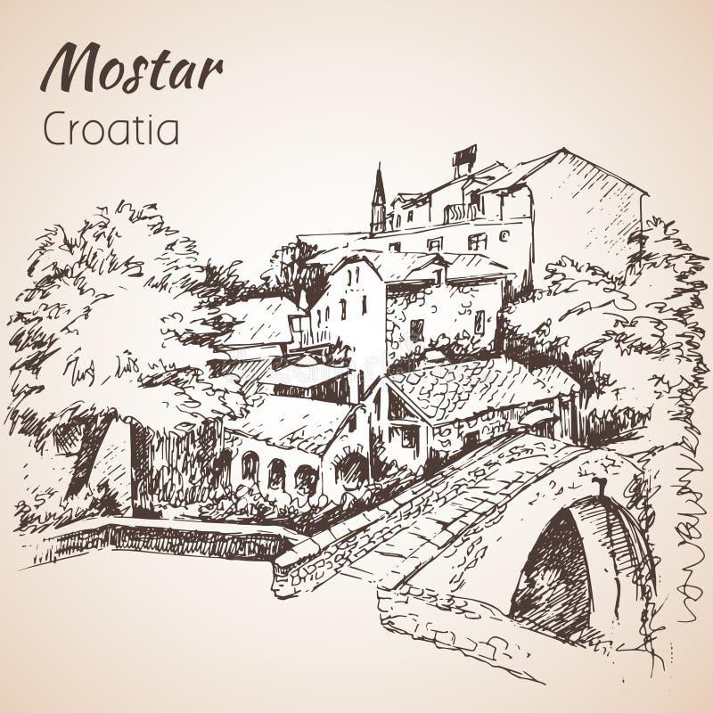 Cidade do Od de Mostar, Croácia Croácia esboço isolado em b branco ilustração stock