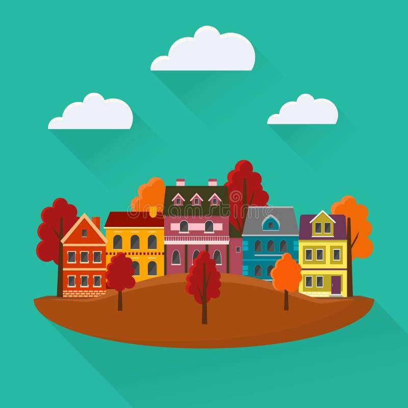 Cidade do outono com casas e árvores ilustração do vetor