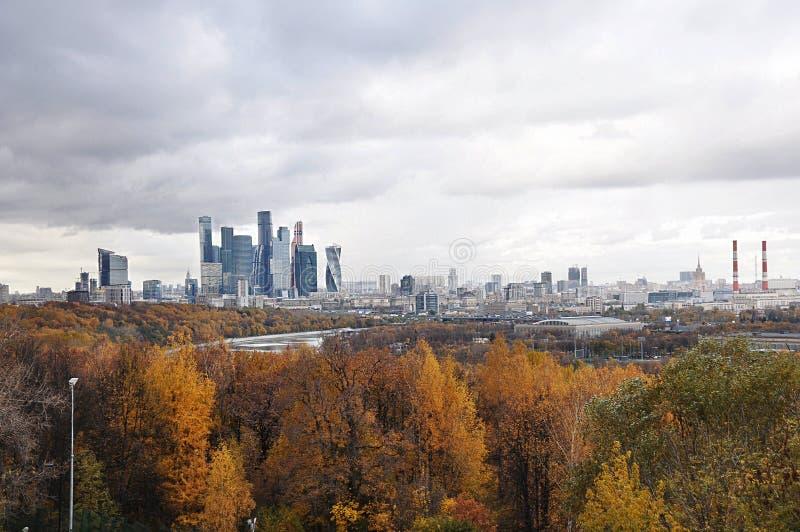 Cidade do outono e floresta amarela em Moscou fotografia de stock royalty free