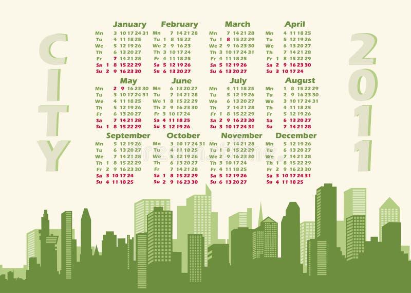 Cidade do panorama. Calendário 2011 ilustração stock