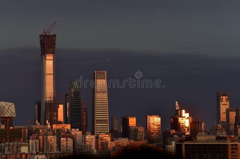 A cidade do Pequim sob o por do sol imagem de stock royalty free