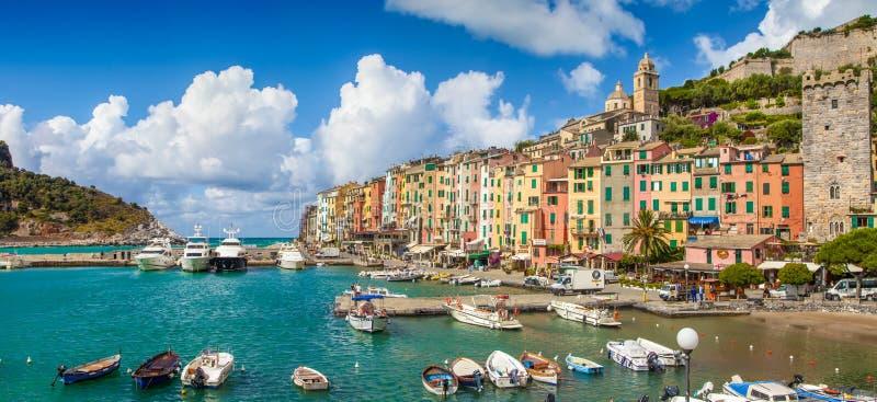 Cidade do pescador de Portovenere, Liguria, Itália fotos de stock