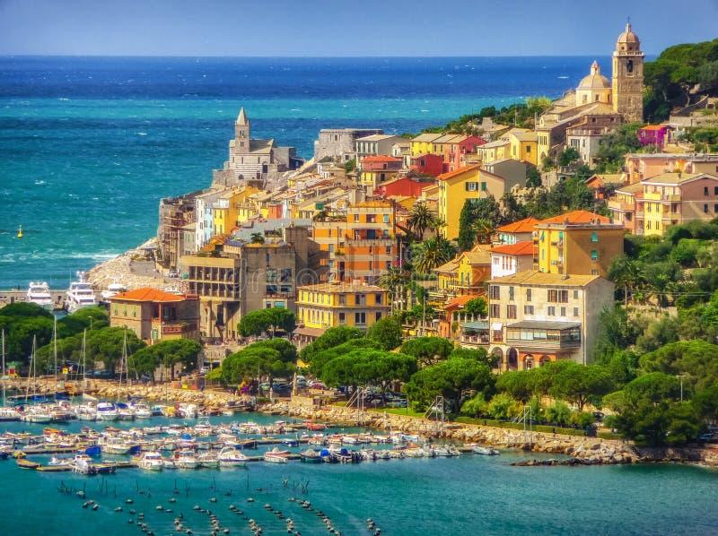 Cidade do pescador de Portovenere, Liguria, Itália imagem de stock