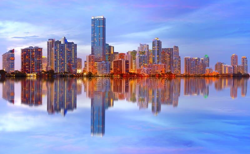 Cidade do por do sol de Miami Florida fotos de stock royalty free